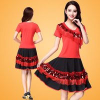 Women Lady Latin Dance Costume 2pcs(top&skirt) Milk Silk Skirt Salsa Samba Costume Latin Dance Wear Fitness Clothes Zippidy D060