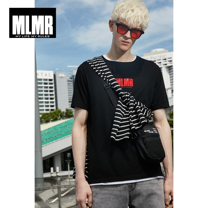 MLMR Men's 100% Cotton Contrasting Letter Print Short-sleeved T-shirt M|219101524