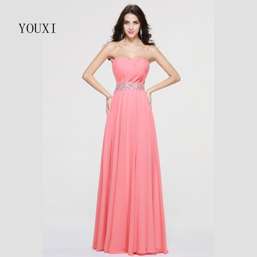 Sexy Sweetheart Long   Prom     Dresses   2019 Lace Up back Chiffon Beaded Crystal Formal Evening Gowns PD76