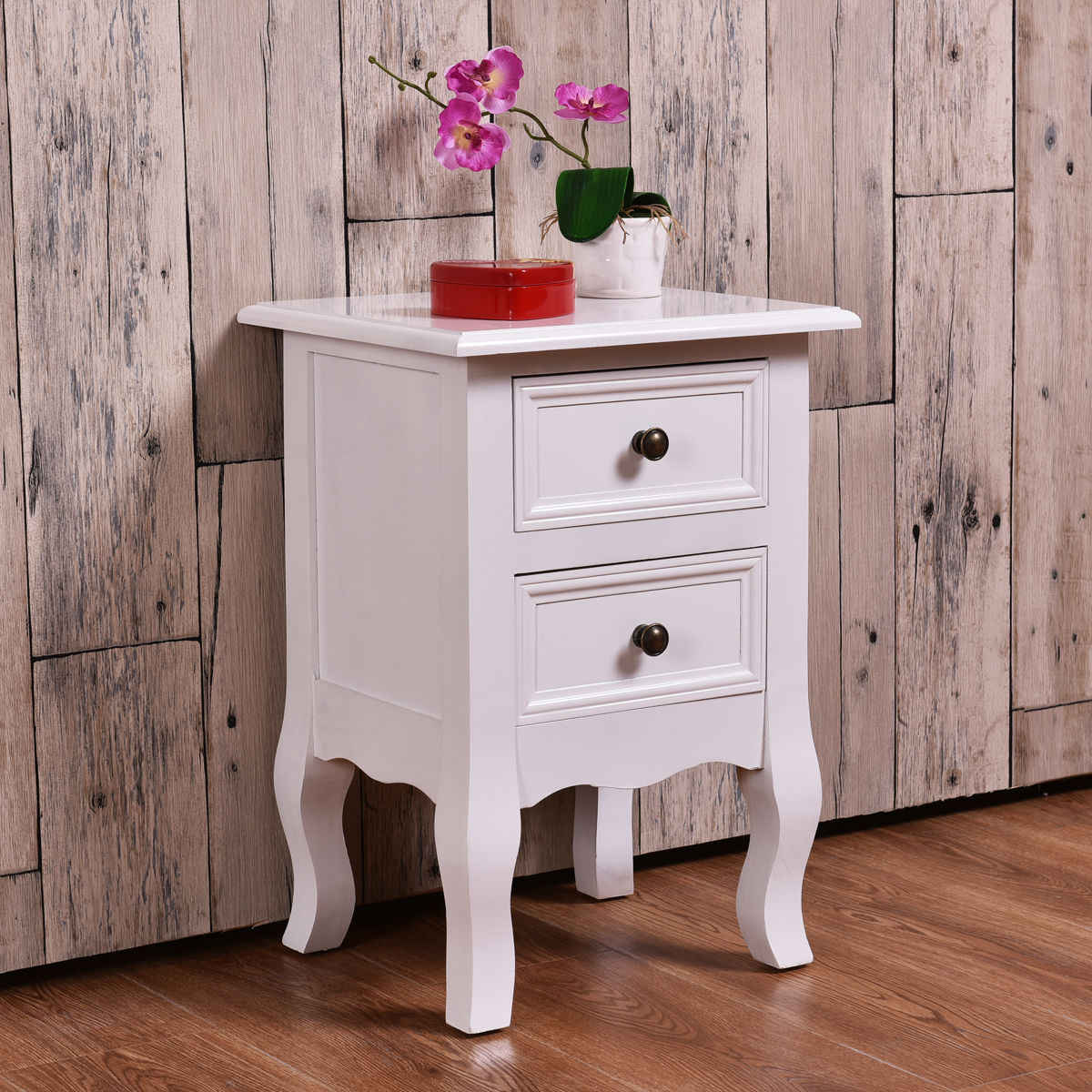 Giantex White Curved Legs Accent Side End Table Modern Nigh stand Bedroom Furniture with Drawers Nightstand HW54090