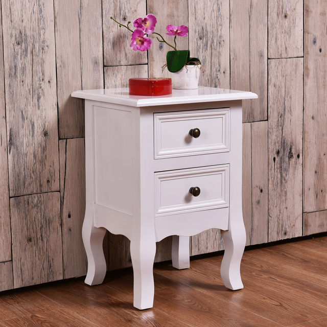 Giantex White Curved Legs Accent Side End Table Modern Nigh Stand Bedroom  Furniture With Drawers Nightstand