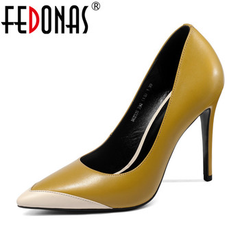 FEDONAS Genuine Leather Thin Heels Office Shoes New Women Pumps Fashion High Heels Shoes Woman Pointed Toe Sexy Shallow Pumps