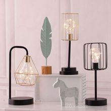 Стиль ретро черный геометрический провод промышленное светодиодное освещение лампа кровать боковая аккумуляторная настольная лампа