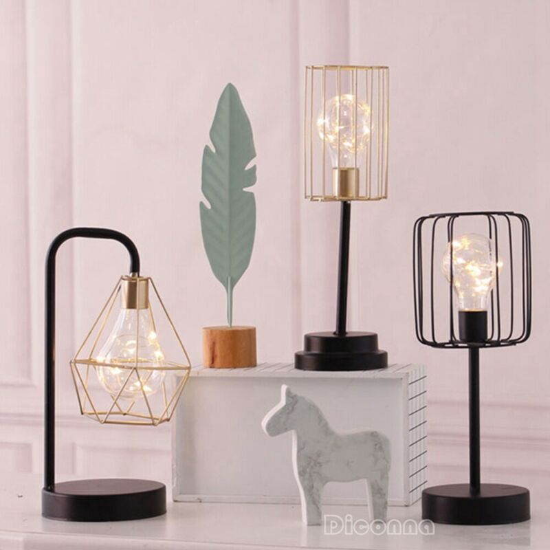 2019 Brand New Style Retro Black Geometric Wire Industrial LED Light Bulb Bed Side Battery Table Lamp