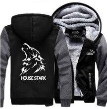 Hot 2016 New fashion American Game of Thrones black Hoodie Logo Winter thick Fleece Mens Sweatshirts jacket clothing long sleeve