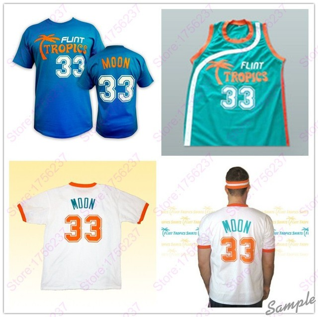 Jackie Moon Flint Tropics Semi Pro Movie Basketball Jersey Stitched 33 Jackie  Moon Jersey Shirts Green White S-3XL Free Shipping 1afda19d4