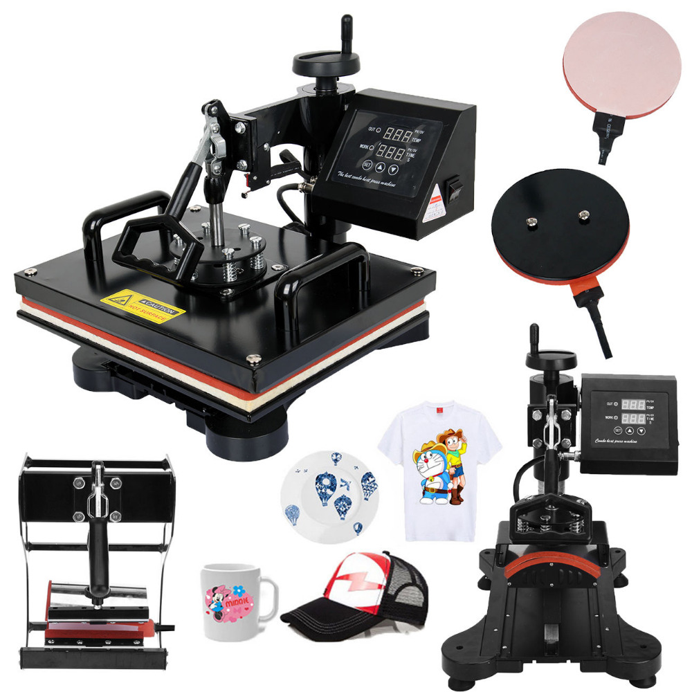 (Ship from Germany) 5 in 1 Heat Press Machine Swing Away Transfer Sublimation T-Shirt Mug Hat Cap Plate 1pc 6in1 30 38cm t shirt swing away heat press machine shaking head heat transfer sublimation machine