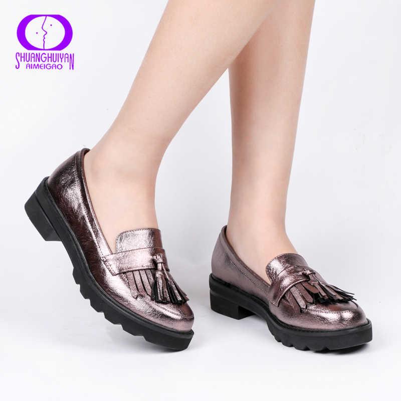 Aimeigao Lente Herfst Kwasten Oxford Schoenen Vrouwen Platform Slip-On Schoenen Vrouwen 2019 Glanzende Ronde Neus Casual Lederen Flats schoenen