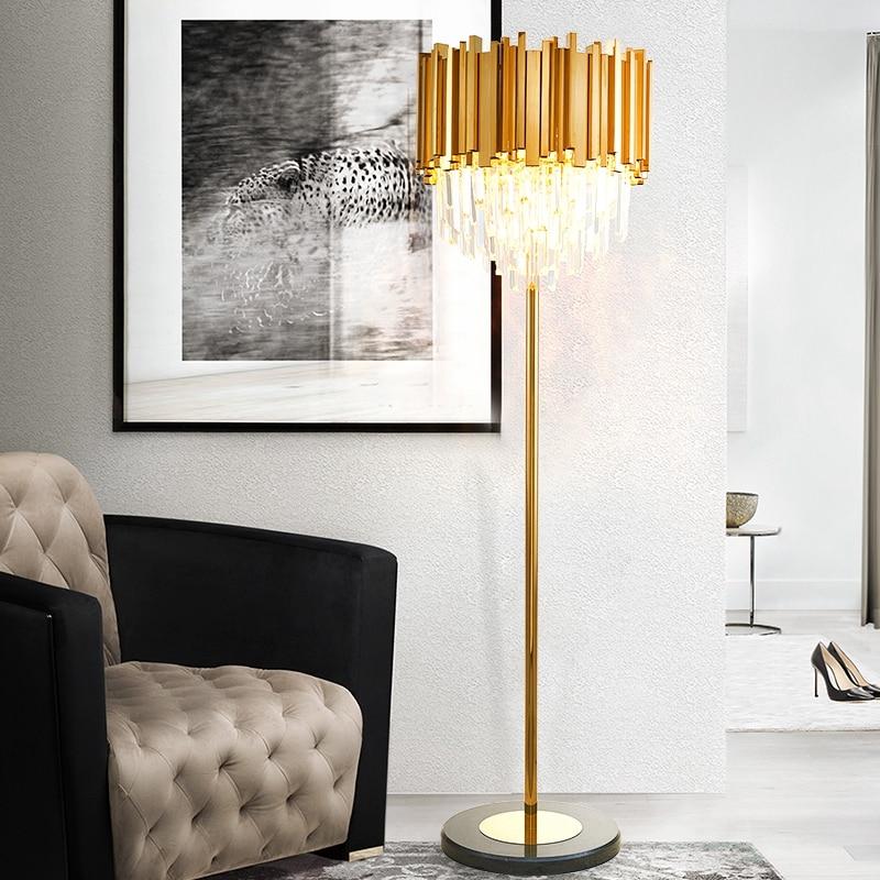 Hotel Lobby Gold Crystal Floor Lamp Modern Living Room Model Room Art Deco E14 Led Floor Light Large Tall Crystal Standing Lamps Floor Lamps Aliexpress