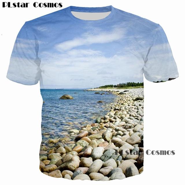 1780ebc5dd34 PLstar Cosmos Hipster Nature Blue Sky Beach Stones 3D Printed Men Women  T-shirt casual men tshirt Tops Tee Cool Print t shirt