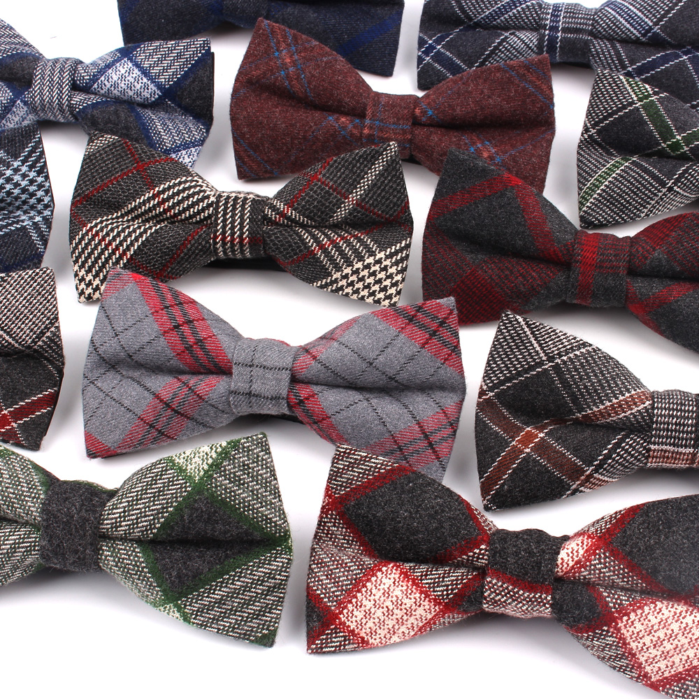 Fashion Bow Tie For Men Classic Plaid Bowtie For Business Wedding Bowknot Adult Cotton Mens Bowties Cravats Green Blue Tie