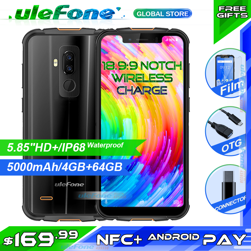 "Ulefone Armor 5 IP68 Waterproof Mobile Phone Android 8.1 Octa Core 4GB+64GB 5.85"" HD+ NFC Face ID Wireless Charge 5000mAh(China)"