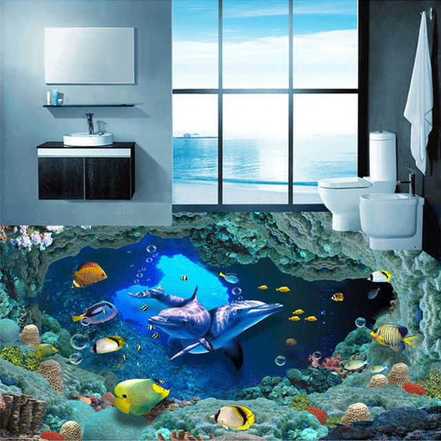 Custom 3D Photo Wallpaper Underwater World Dolphin Living Room Backdrop Bathroom Self Adhesive Floor Stickers