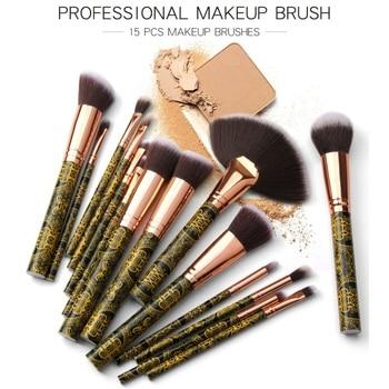 051ae1503 15 unids/set pinceles de maquillaje negro oro pequeño ventilador forma  brochas maquillaje traje pinceles