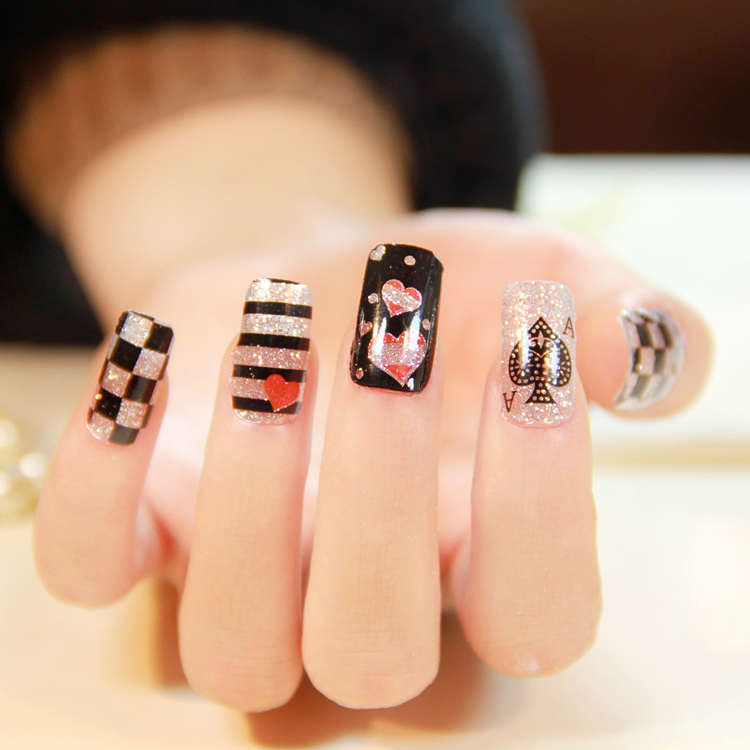 2015 New Fashion Style Acrylic Uv Sheets 3d Design Cute Poker Pattern Tip Nail Art Glitter