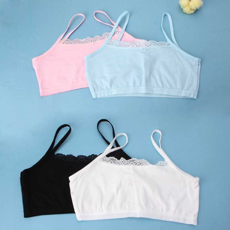 New Hot 1 Pc Girl Underwear Lace Bras Cotton Camisoles Sports Bra Top For Teens Training Bra 4 Colors Top Quality