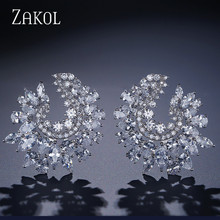 ZAKOL Luxury Brand Design Fashion Cubic Zircon Stud Earrings Sparking Crystal Bridal Wedding Jewelry for Elegant Women FSEP630