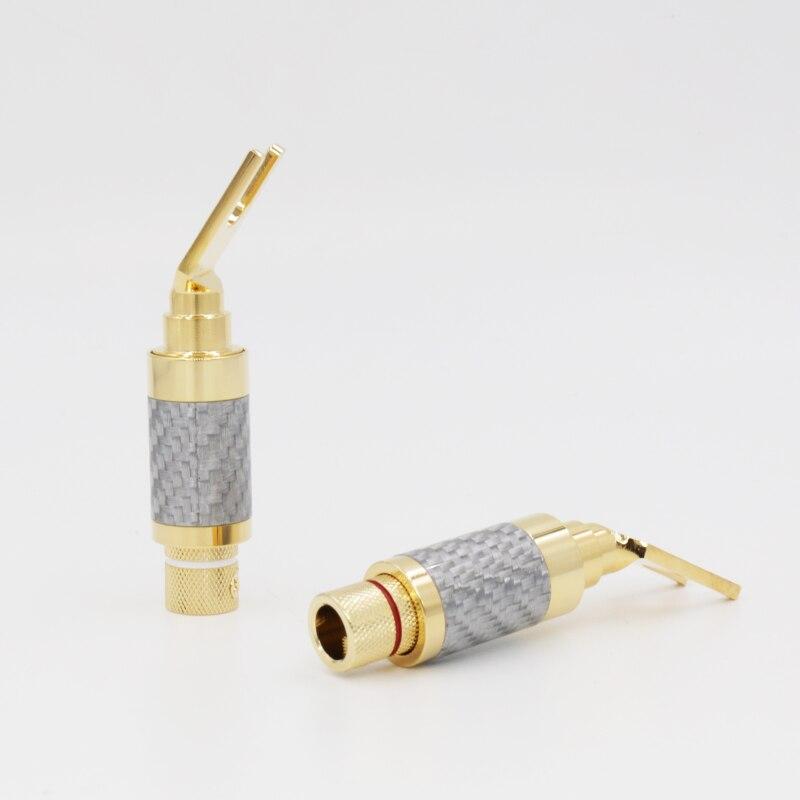 4 pièces 24 k plaqué or bêche Fiber de carbone haut-parleur câble bêche Terminal connecteur prise