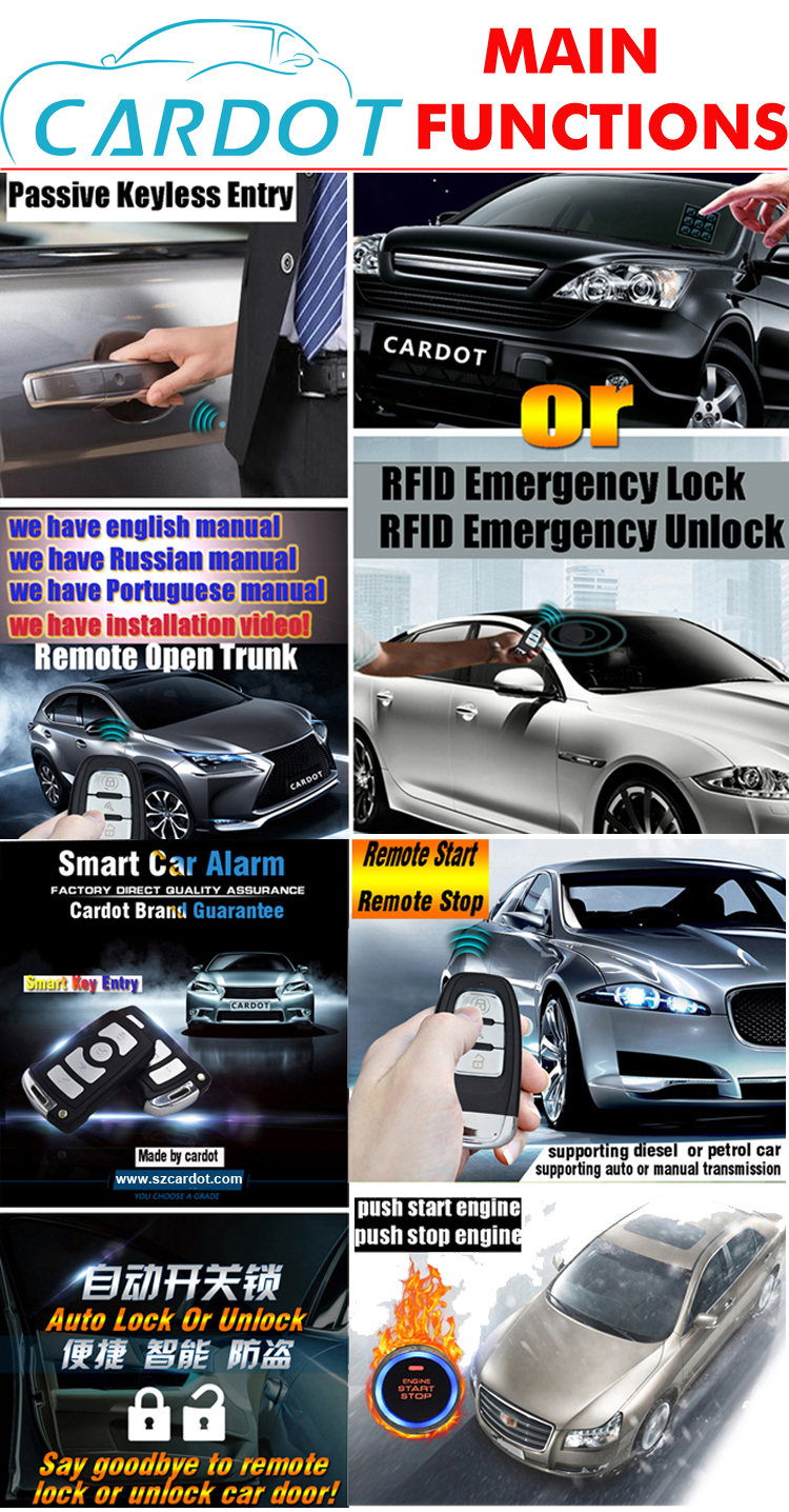 pke car car alarm with start ignition button smart key keyless entry ...