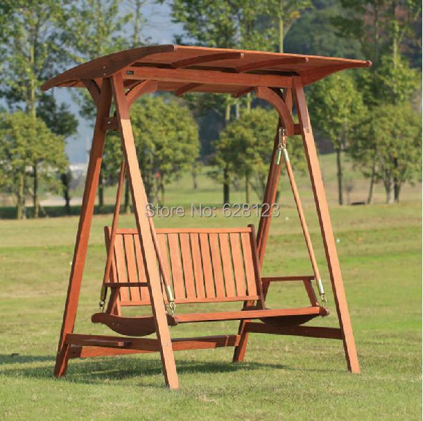 Odhb45 exterior mecedora de madera de madera real cesta - Columpios de madera para jardin ...