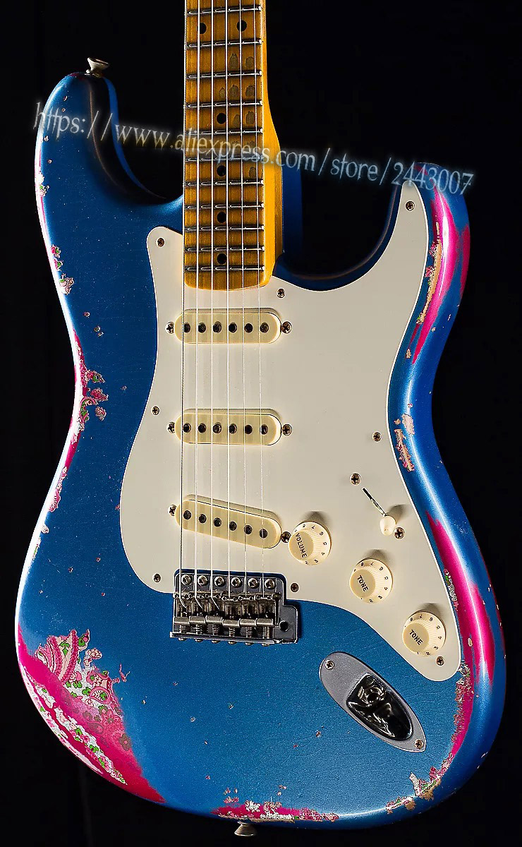 GC Custom Shop 1957 Heavy Relic Lake Placid Blue over Pink Paisley Electric Guitar custom shop handmade telecast electric guitar limited andy tele version master build relic tl guitar boom switch h s control