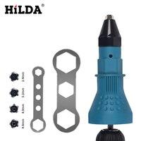 HILDA Elektrische Klinknagel Moer Gun Klinken Tool Cordless Klinken Boor Adapter Insert Moer Tool Klinken Boor Adapter 2.4mm- 4.8mm
