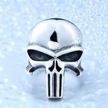 DoreenBeads 316L Stainless Steel Punisher Skull Ring Man Punk Jewelry Fashion Vintage Men's Biker Silver Alien Skeleton Rings