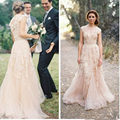 V Neckline Vintage Lace Soft Tulle A line Wedding Dresses Custom Made