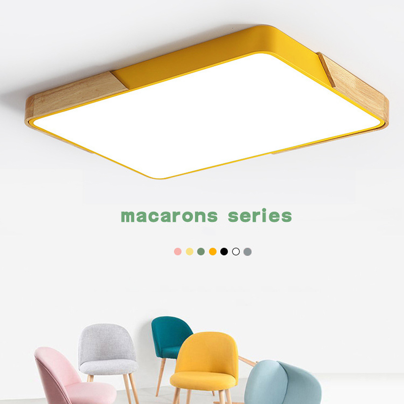 Macaroon Modern led ceiling lights for Living room Bedroom Kitchen led ultra-thin 5CM hall luminaria led Solid wood ceiling lampMacaroon Modern led ceiling lights for Living room Bedroom Kitchen led ultra-thin 5CM hall luminaria led Solid wood ceiling lamp