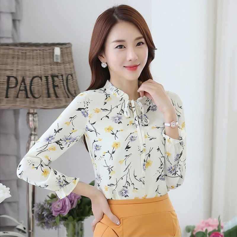 f12a2ba2715 ... Модные женские туфли Шифоновая блузка с длинным рукавом Повседневное  офисные женские свободные летние футболка с цветочным ...