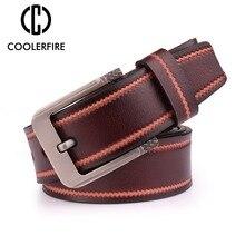 Coolerfire Mens Belt Leather Men Male Genuine Strap Luxury Pin Buckle Fancy Vintage Jeans Cintos Masculinos SL007