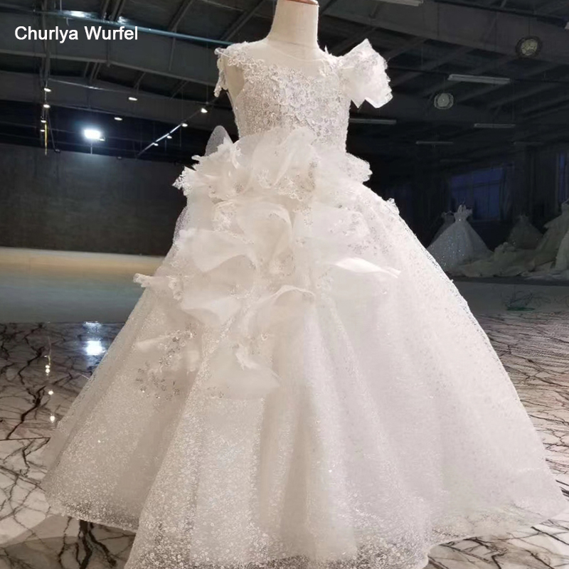 HTL0548 like white   flower     girls     dresses   for party and wedding o-neck sleeveless floor length lace communion   dress     girl   komunia