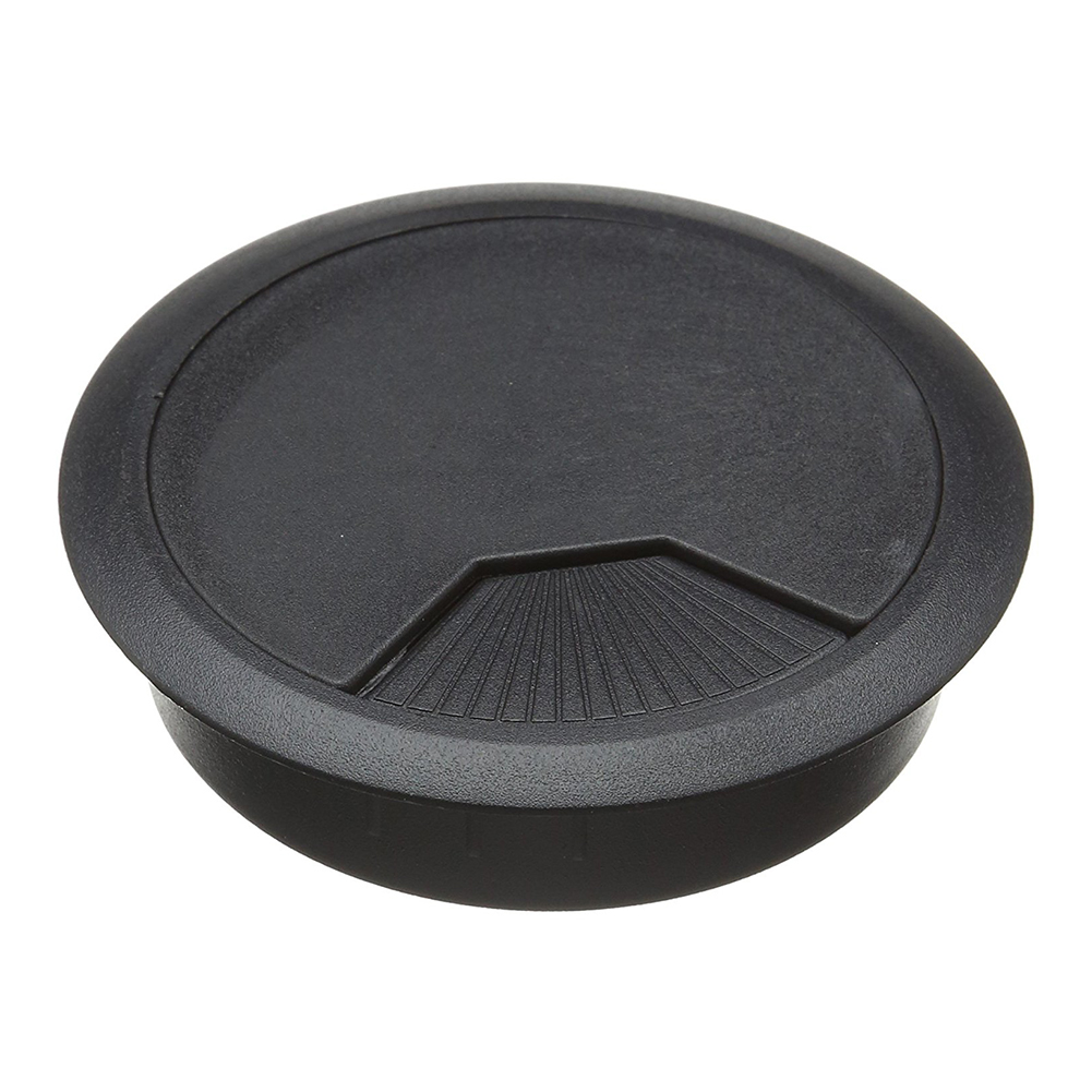3 Pcs Black Plastic Desktop Computer 80mm Grommet Cable Hole Cover(China)
