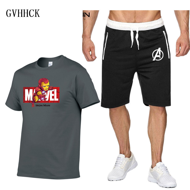 Tracksuit Male 2019 Clothing Set Marvel Iron Man Tracksuit Summer Casual Men Shorts + T Shirt Men's Suit 2 Pieces Sets Plus Size
