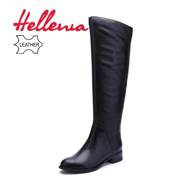 Hellenia Moda Preto Sobre O Joelho Botas de Couro de Vaca Mulheres Inverno Quente de Pelúcia Feitos À Mão Clássico de Alta Qualidade sapatos de Marca de Topo