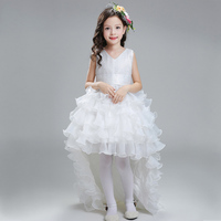 Retail Flower Girl Dresses For Weddings Elegant Trailing Gown Free Shipping Girls Princess Dress Kids Evening