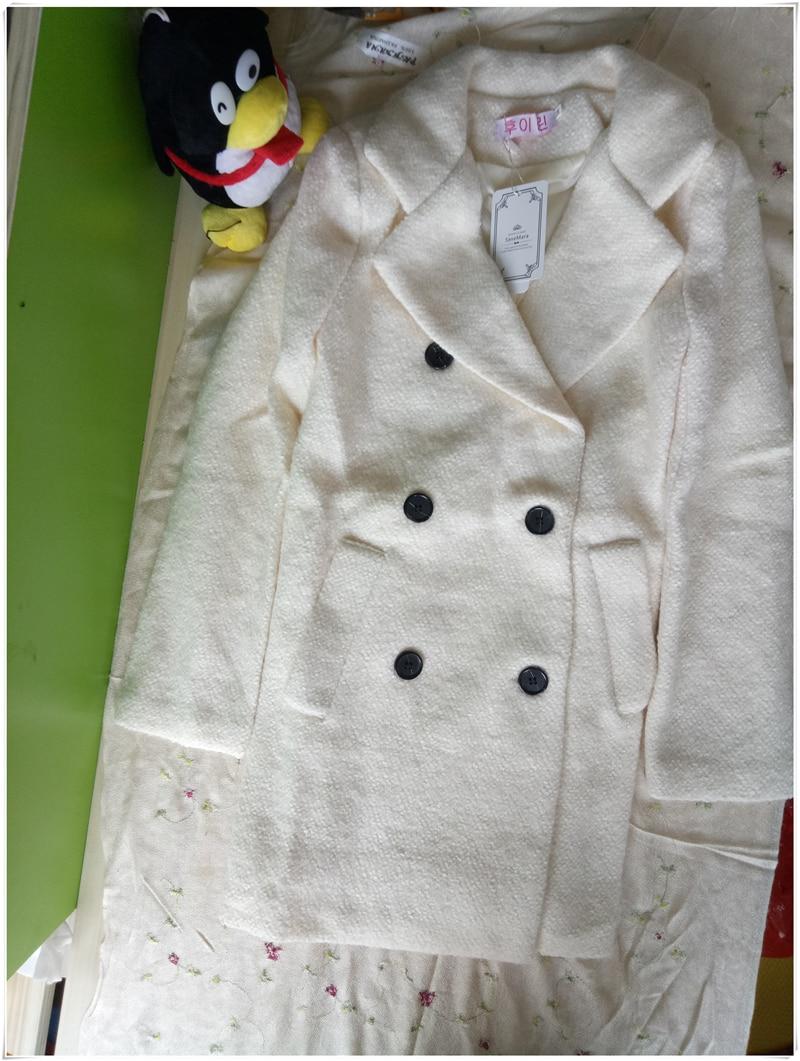 Double De À Long Tissu Chaud Femmes coréen Femelle Épais Windbreaket Beige D'hiver 2017 Vestes Boutonnage L223 Nouvelle Laine Manteau XPqBXA