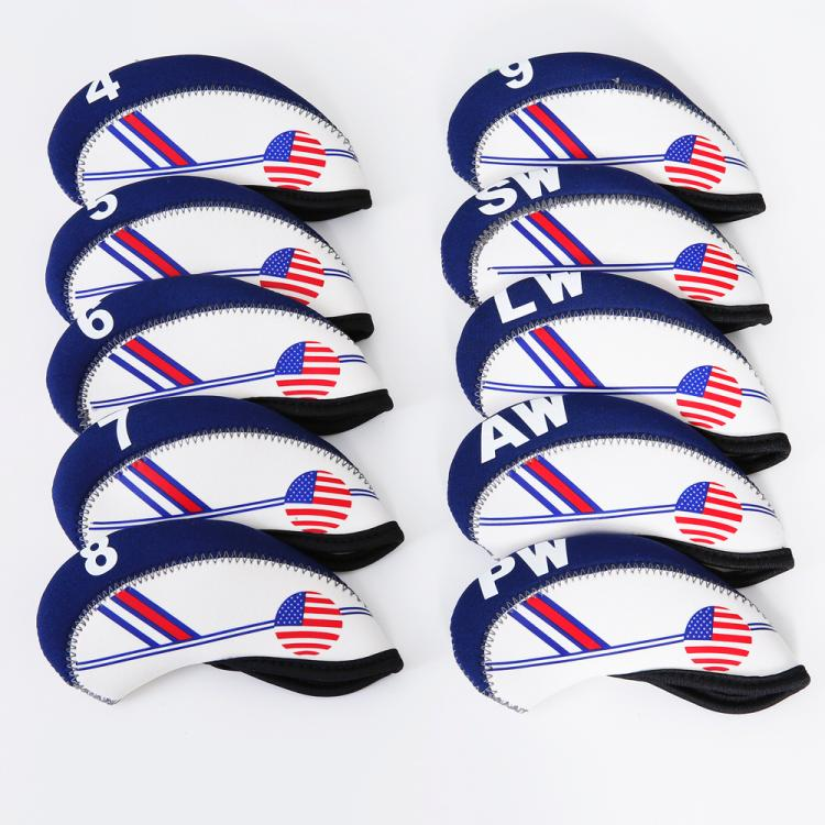 Golf Club Iron headcover White With Blue US Flag Headcovers One size Fit All Irons Outdoor Golf Accessories free shipping