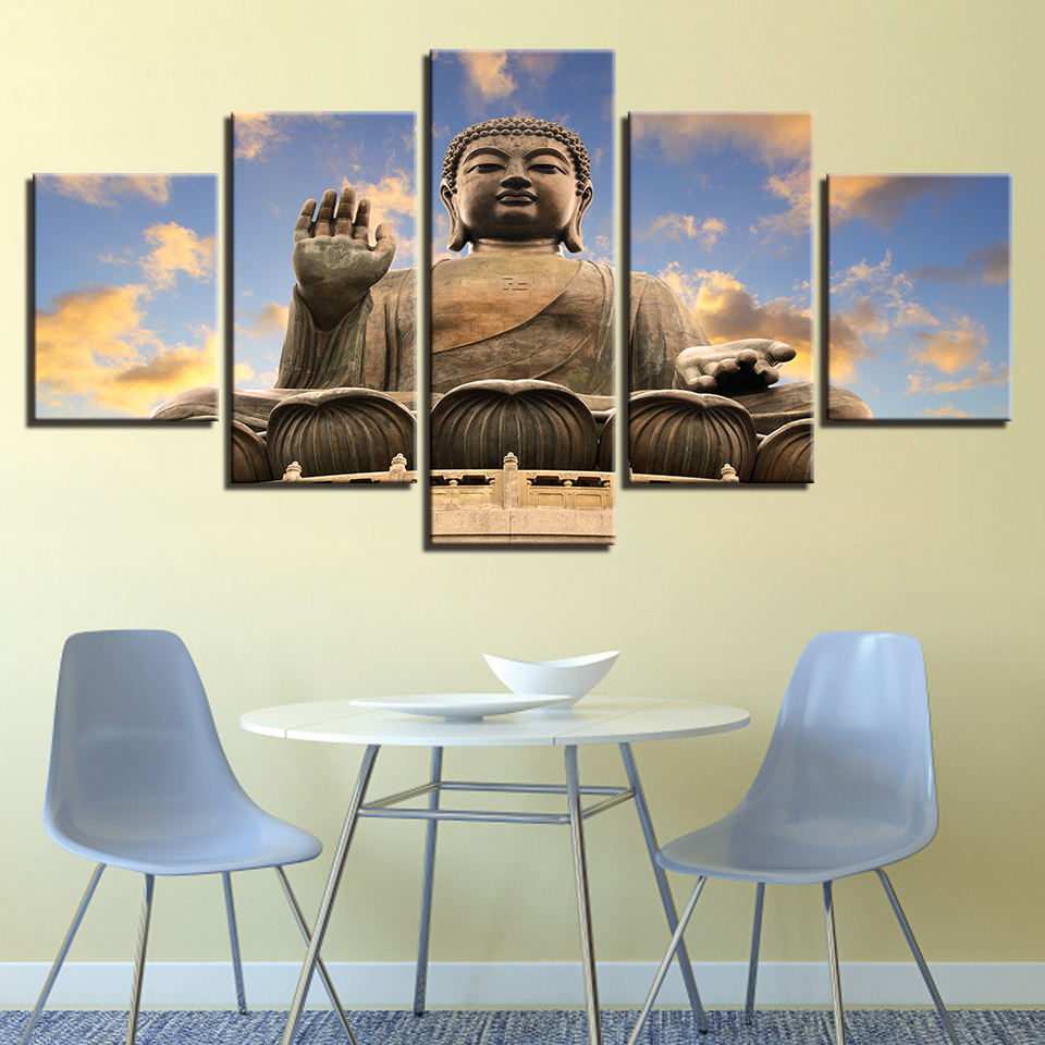 Print Painting For Living Room Home Decoration 5 Panel Buddha Cuadros Modular Pictures Poster Framework High Quality Canvas