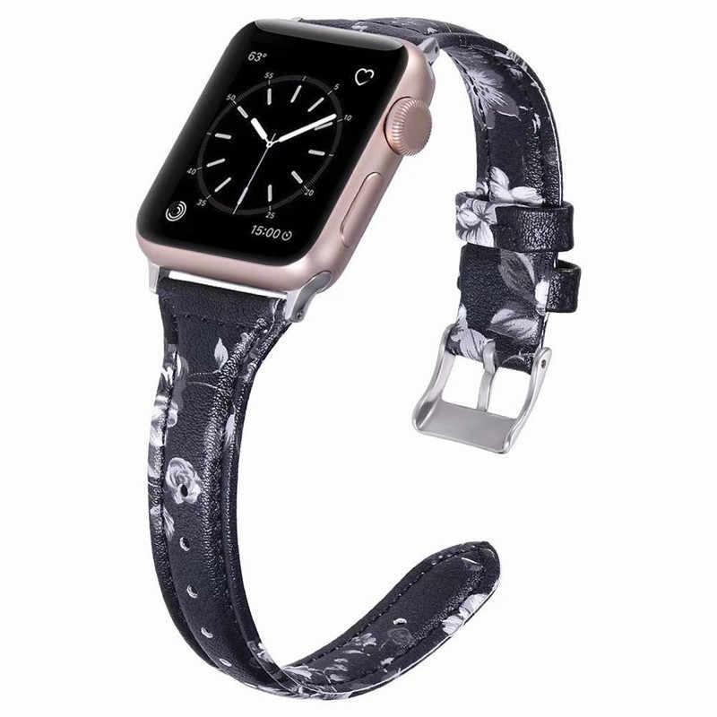 マルチカラープリントスリムウエストスタイル革用時計バンド iWatch シリーズ 1 2 3 4 男性レディースブレスレット時計バンド