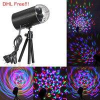 DHL Бесплатная доставка 25 шт./лот 3 Вт Авто вращающийся RGB LED Свет этапа DJ партии свет с вилкой ЕС/США для танцев бар украшения