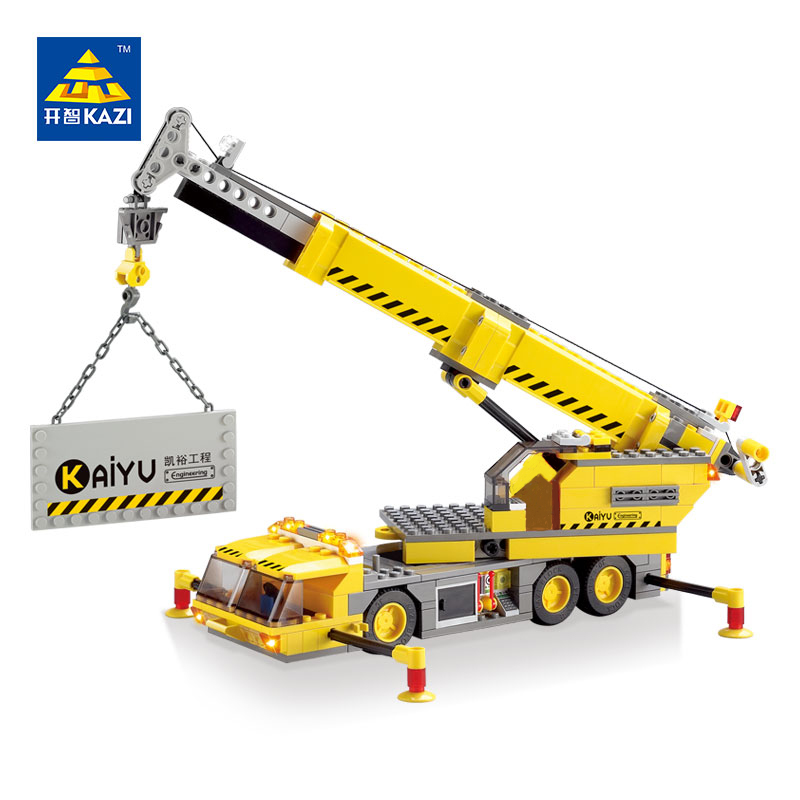 KAZI 8045 380 PCs City Engineering Construction Crane Car Brick Set Building Block Kids Toys City Playmobile Christmas Gift