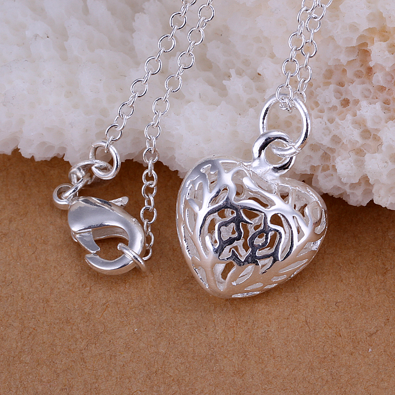 286e76116bf9 Al por mayor P111 cadenas de joyería de moda COLLAR COLGANTE de plata 925  pequeño colgante de corazón tridimensional