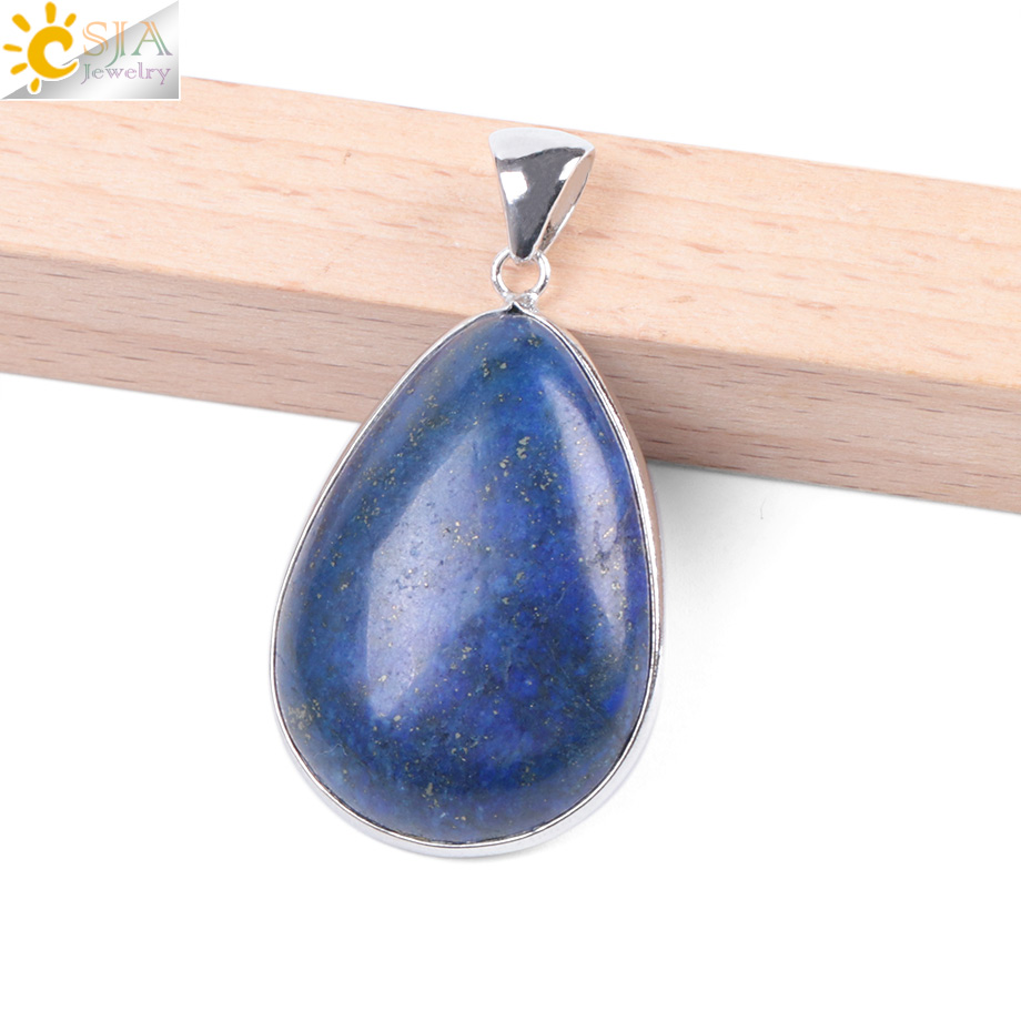 "13x18mm Naturel Lapis Lazuli Teardrop Gemme Collier Pendentif 18/"""