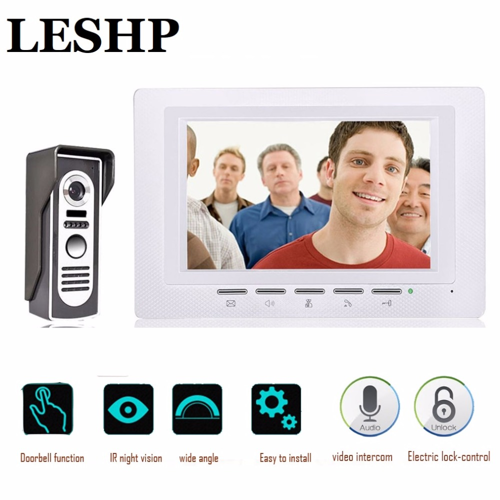 7 inch Intercom Doorbell Color LCD Screen Night Vision Camera Electric lock Access Control System Door Bell For a private house