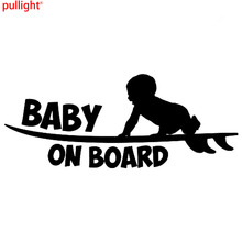 купить 18CM*7CM Baby On Board Funny Vinyl Sticker Cute Surfboard Surfer Car Sticker Reflective Silver Car Styling Decals по цене 179.11 рублей
