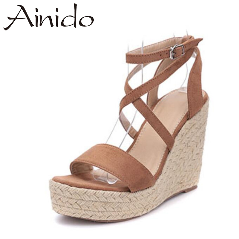 AINIDO Summer Style Women Wedge Sandals Fashion Concise Buckle Cross Strap Open Toe Platform High Heels Ladies Casual Shoes nayiduyun summer wedge high heels women casual platform pumps round toe breathable summer sneakers sandals school shoes chic