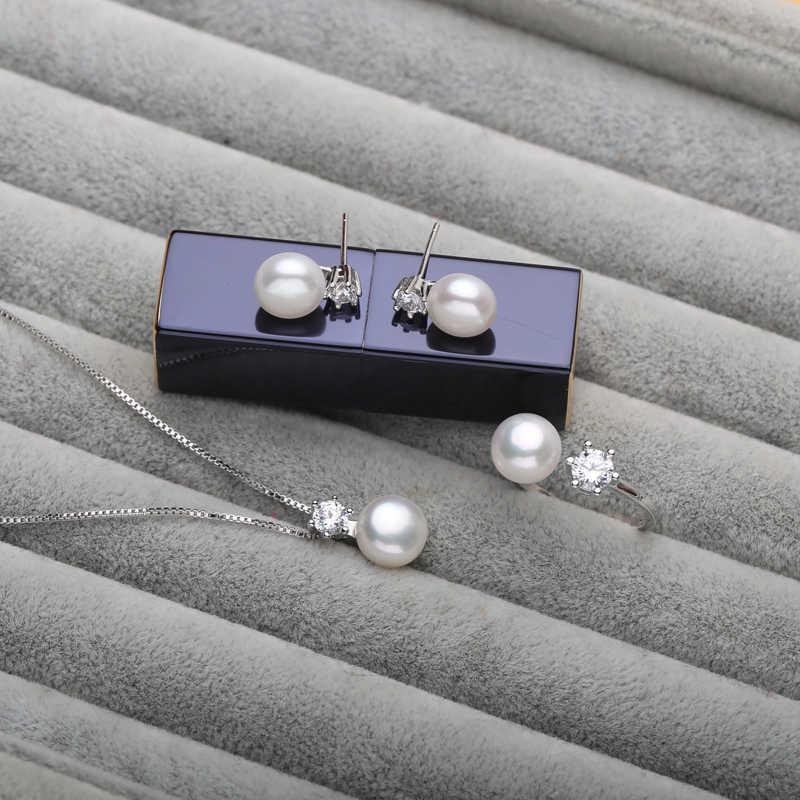 ต่างหูไข่มุกสร้อยคอจี้แหวนไข่มุกน้ำจืดสีดำชุดเครื่องประดับไข่มุก 925 เงินสเตอร์ลิงชุดเครื่องประดับของขวัญ