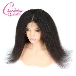 Image 1 - 챠밍 퀸 실크베이스 가발 전체 레이스 인간의 머리카락 가발 흑인 여성을위한 변태 스트레이트 브라질 레미 헤어 가발 베이비 헤어