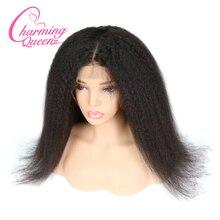 Perucas completas do cabelo humano do laço das perucas da base de seda da rainha encantadora para as mulheres negras kinky em linha reta perucas brasileiras do cabelo de remy com cabelo do bebê